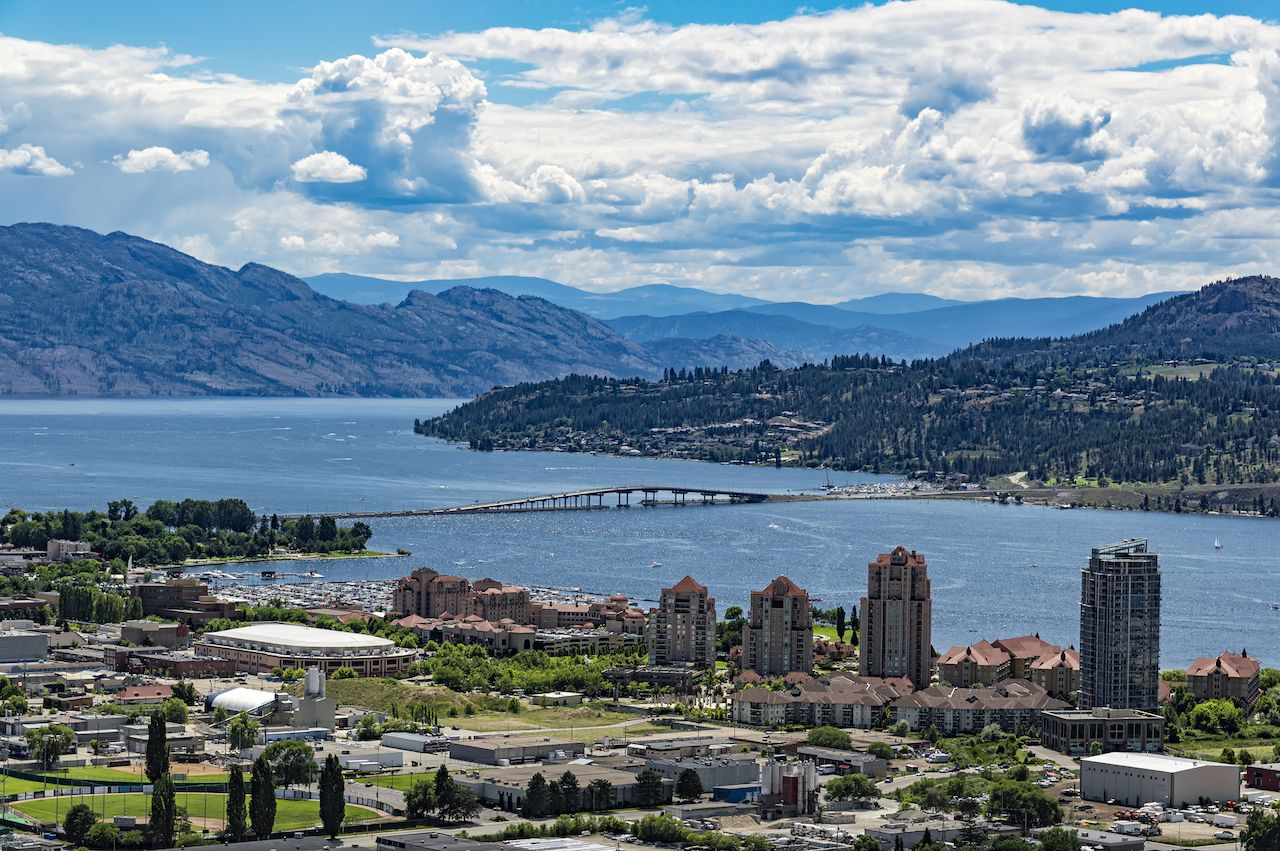View of Kelowna and Okanagan Lake from Knox Mountain in Canada