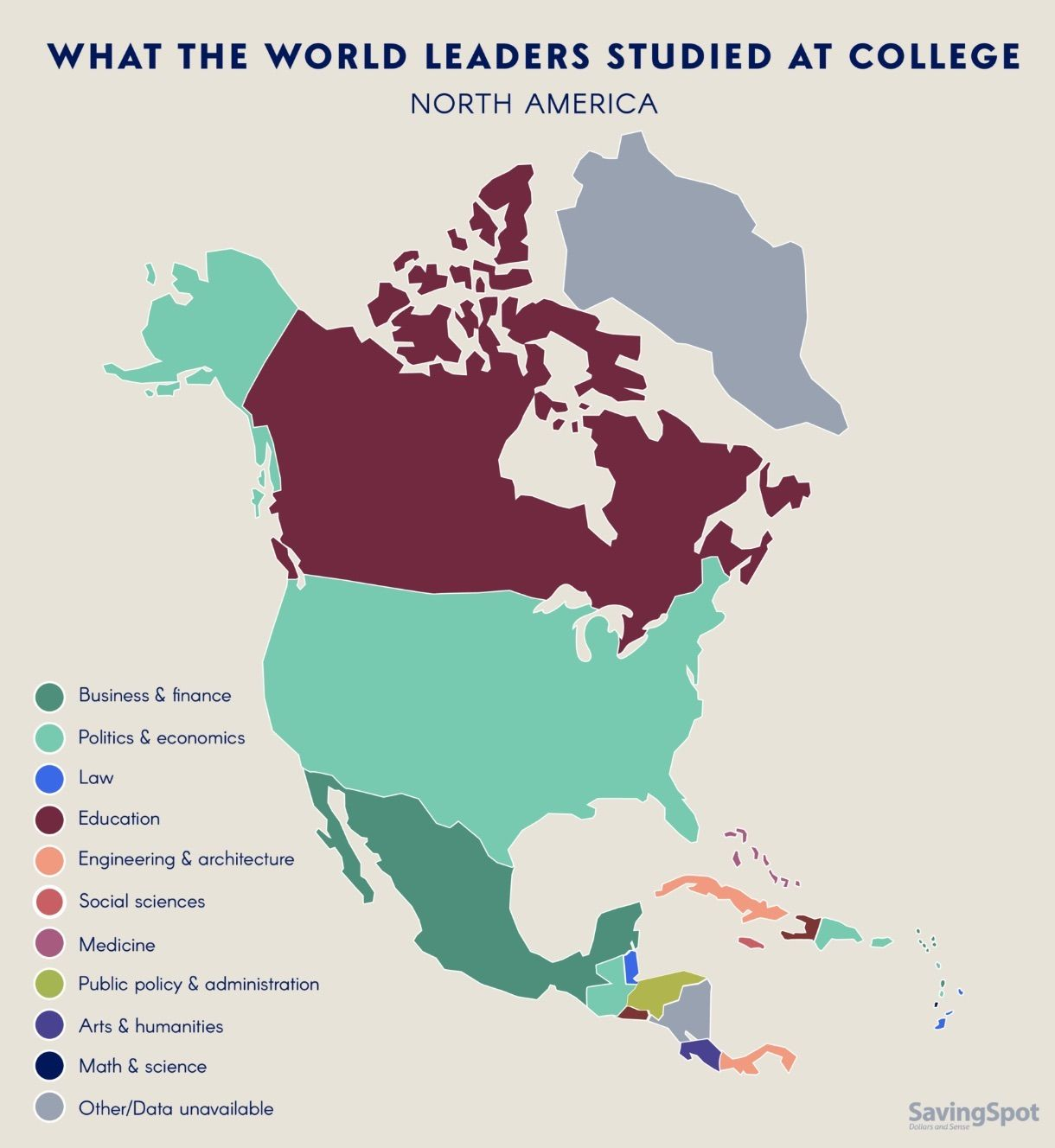 What world leaders studied in college north america