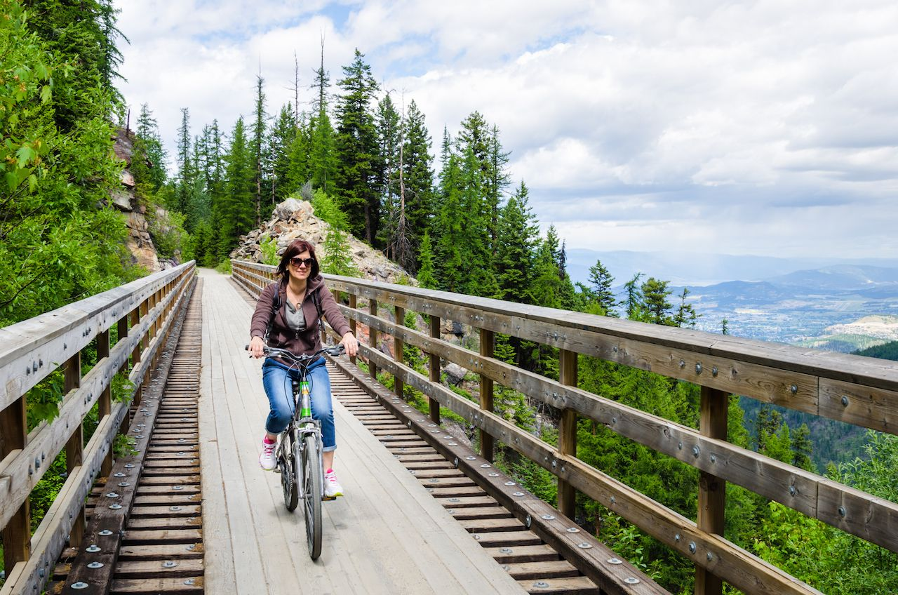 Woman riding a bike in Canada