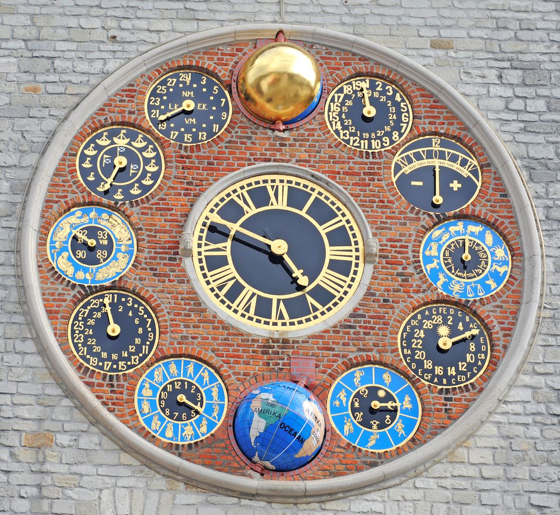 Clock face on the Zimmer tower in Lier, Belgium