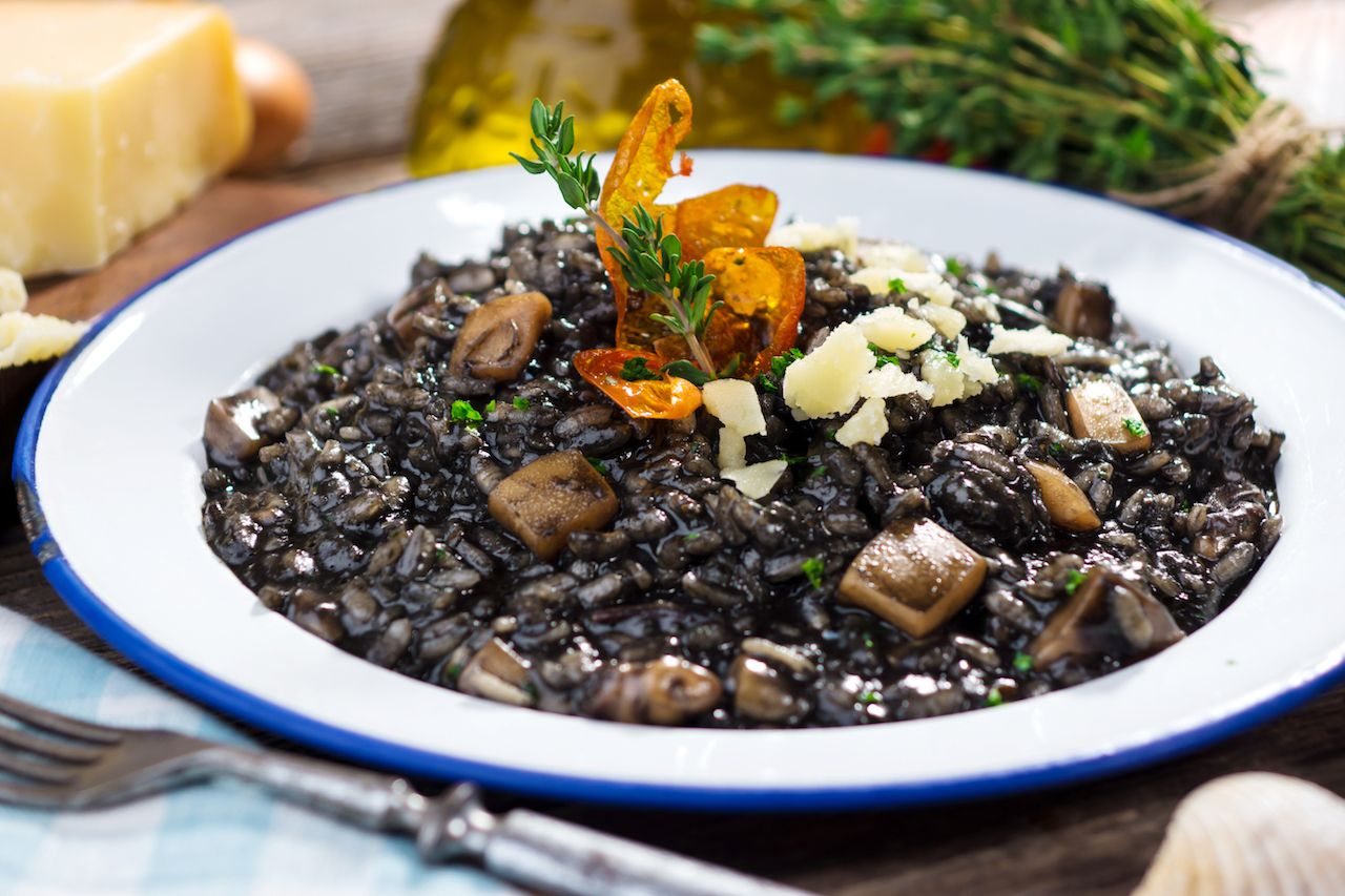 squid-ink risotto