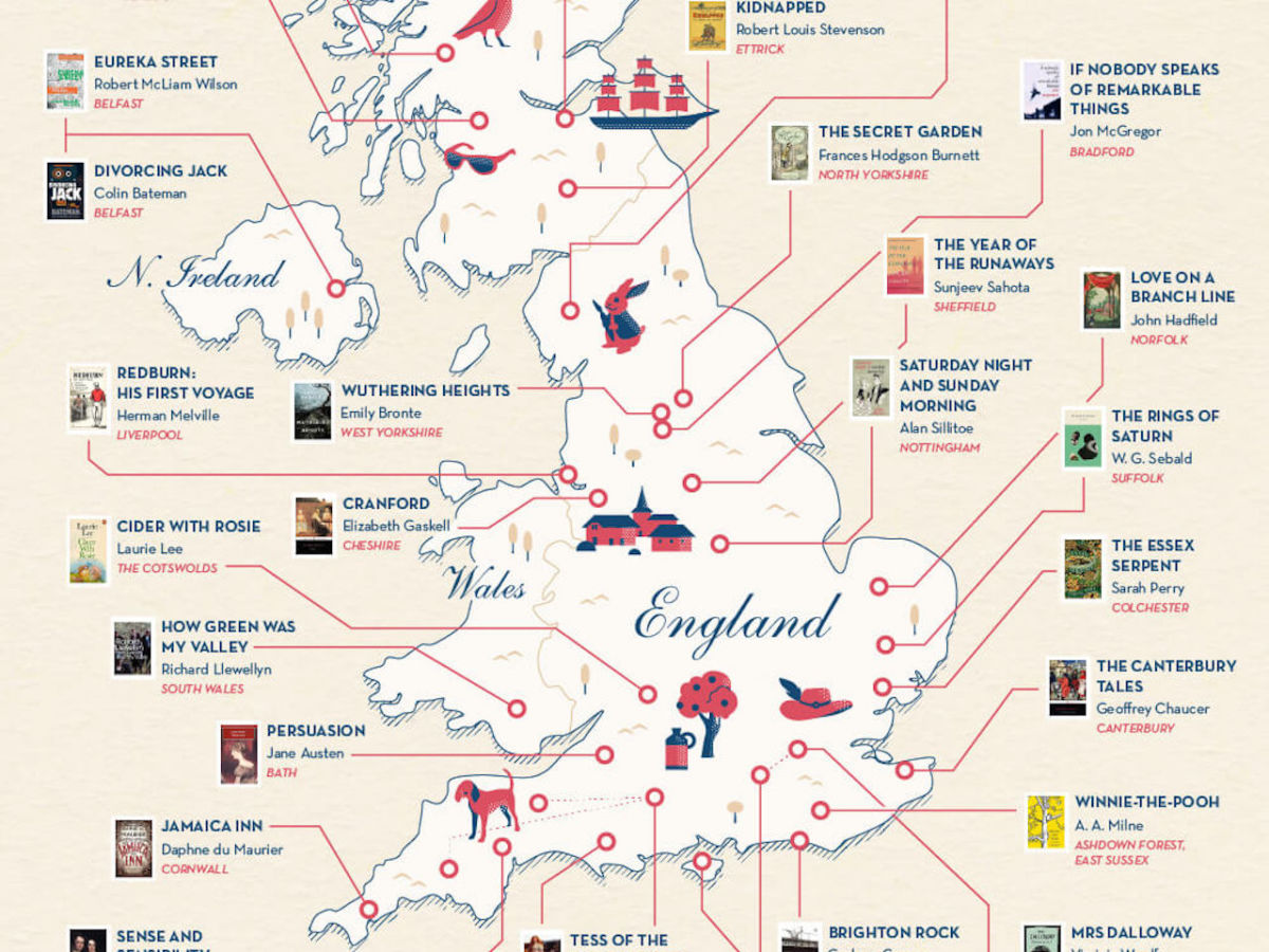 The most famous novels in the United Kingdom and where they ... Map My Itinerary on media map, trip map, attractions map, tariff map,