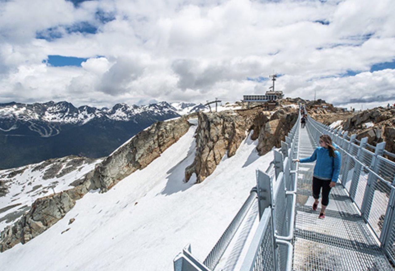 Woman on new Whistler suspension bridge