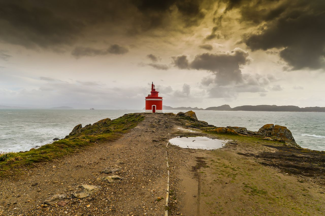 A small lighthouse at Cabo Home in Galicia, Spain