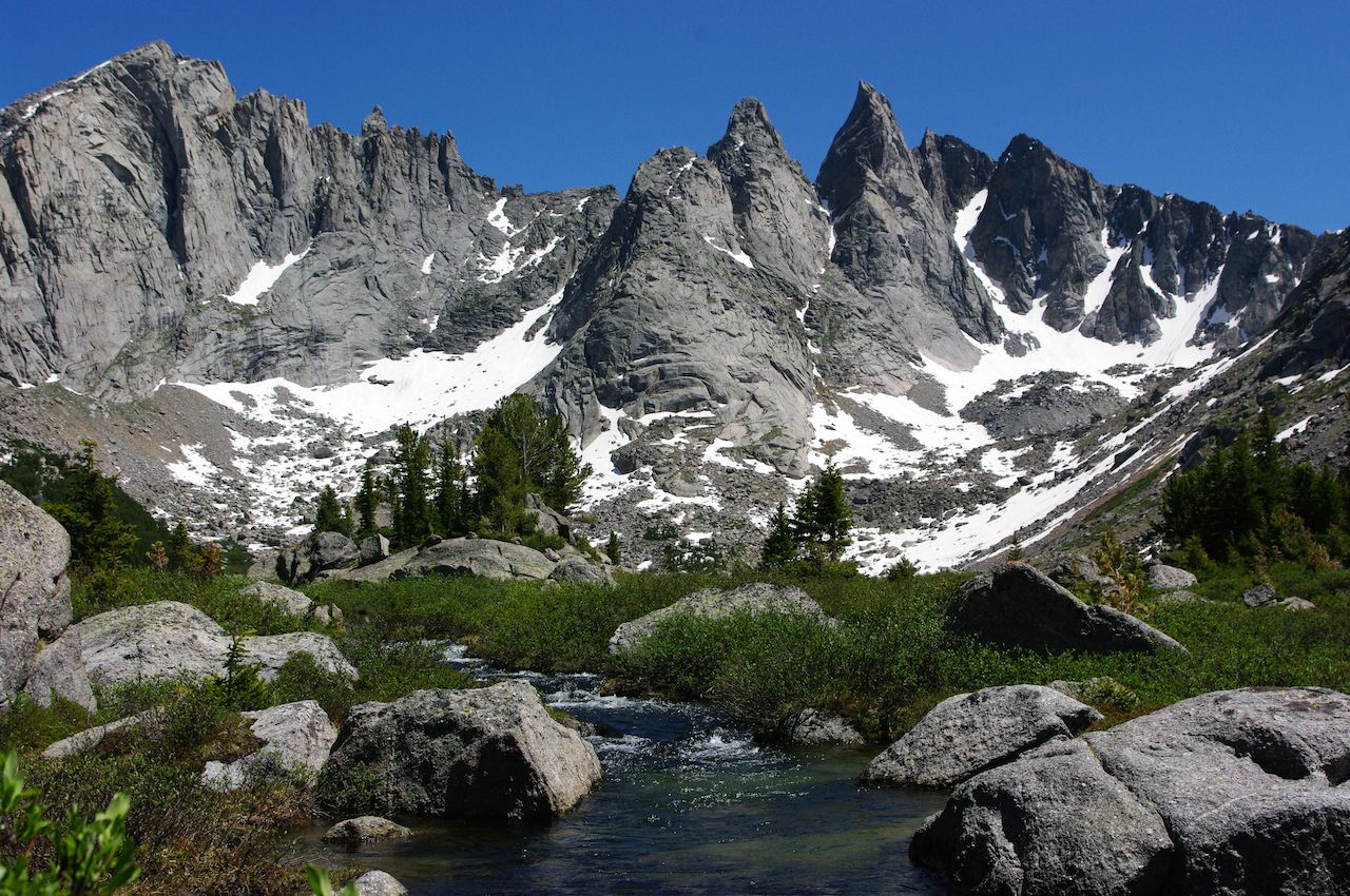 A view of Cirque of the Towers in the Wind River Range Wyoming