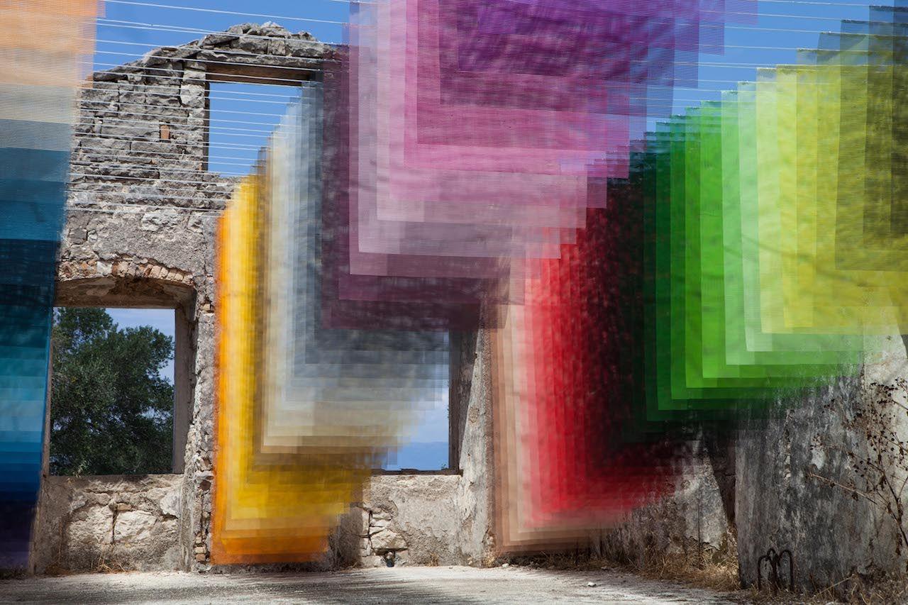 Art installation in Greek ruins