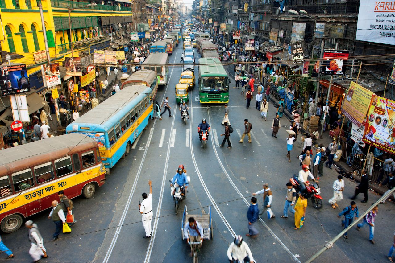 Busy stree in Calcutta, India