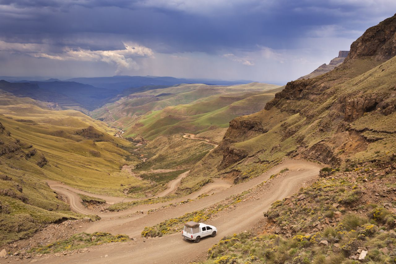 Car driving hairpin turns of the Sani Pass