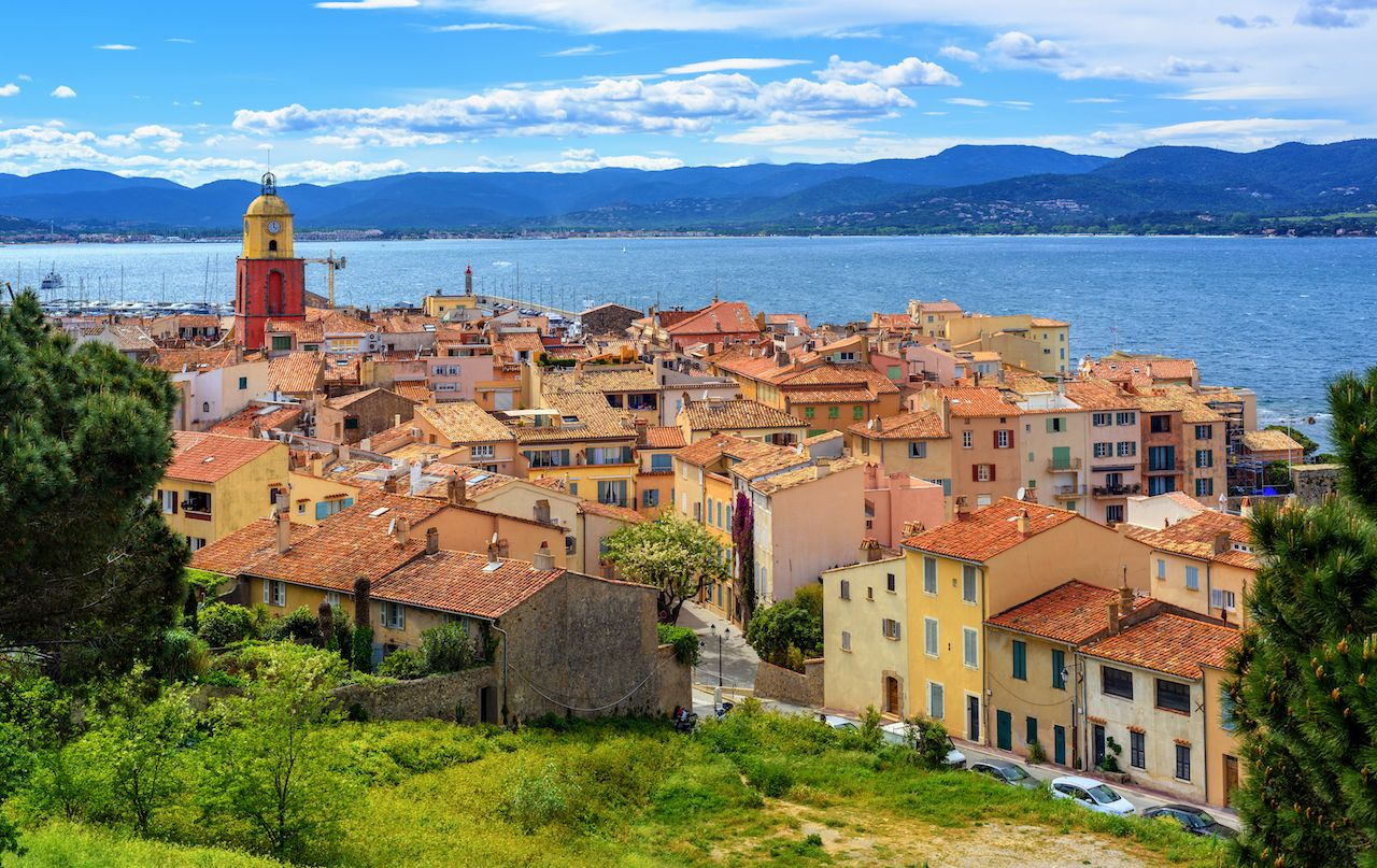 Colorful historical Old Town of St Tropez