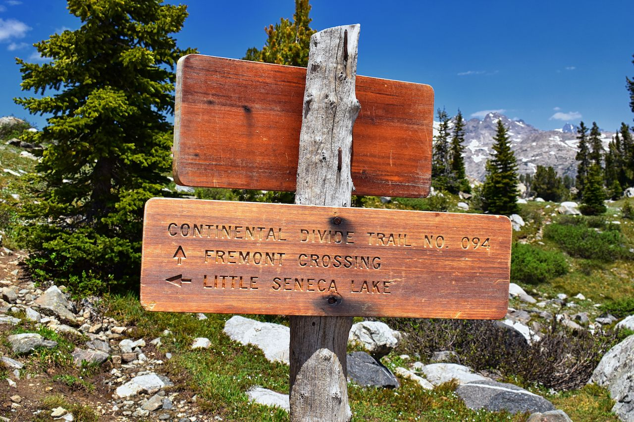 Continental Divide Trail sign in Wind Rivers Range Wyoming