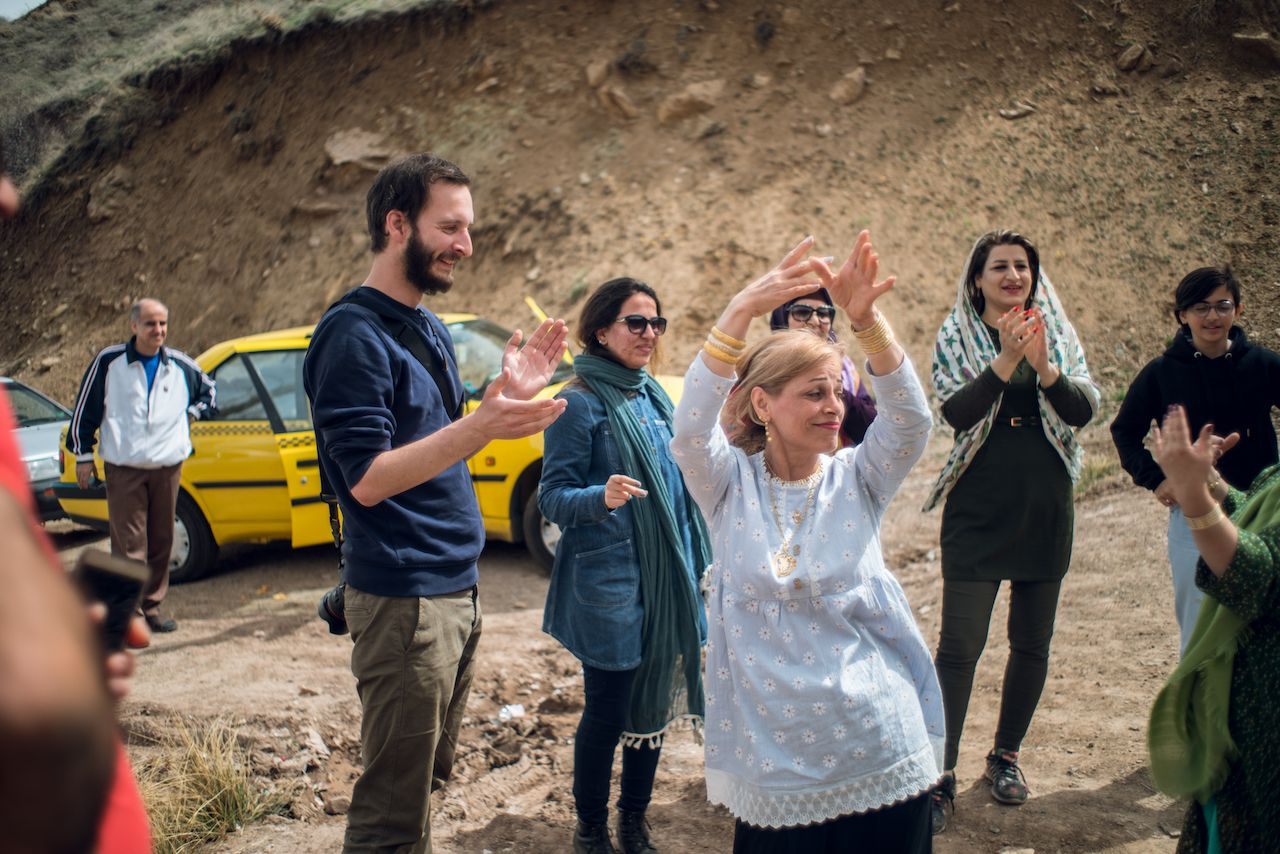 Dancing outside in Iran