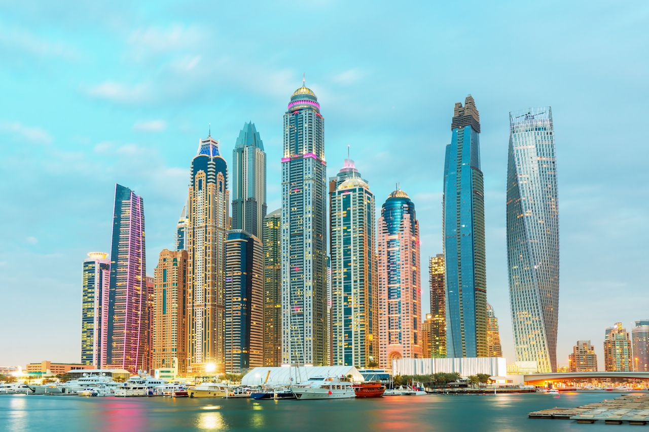 Dubai Marina with skyscrapers