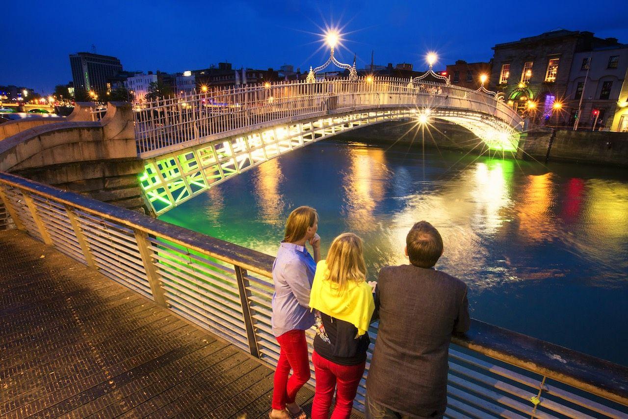 Dublin Ireland Happeny Bridge at night
