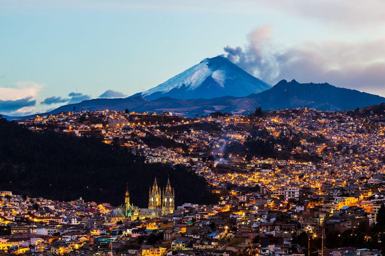 Cotopaxi volcano erupting near Quito, Ecuador