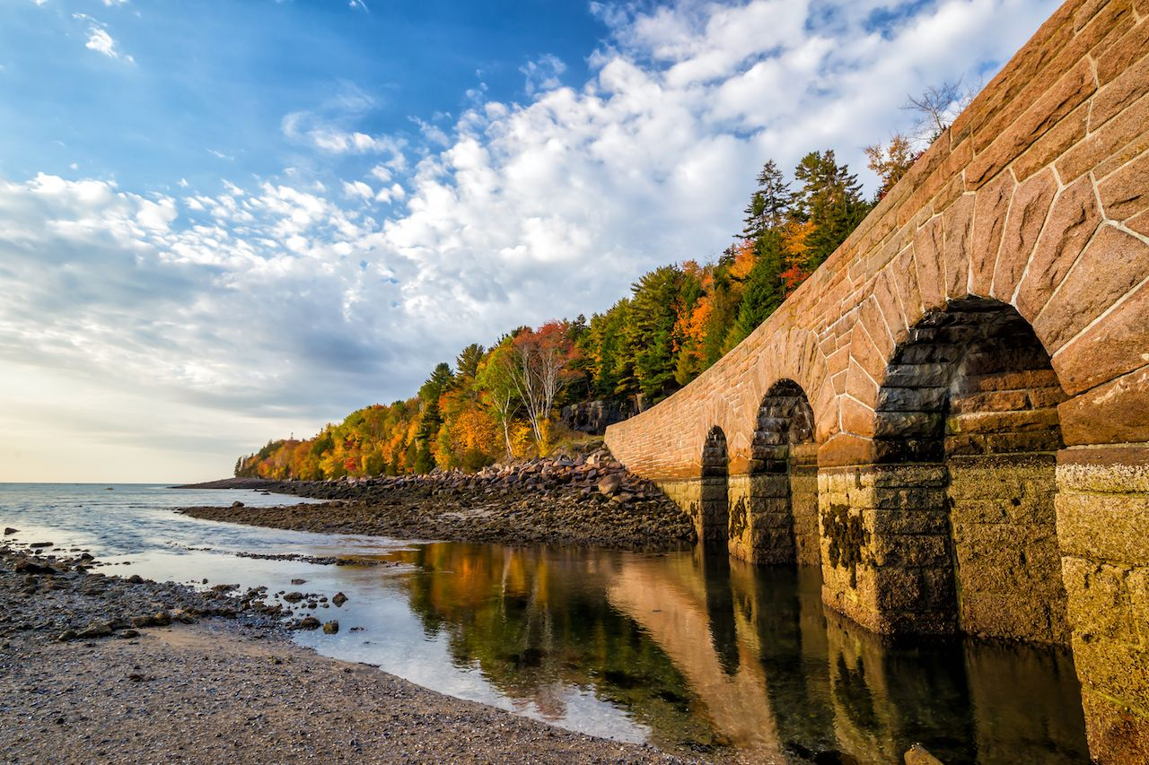Fall colors of Acadia National Park in Maine