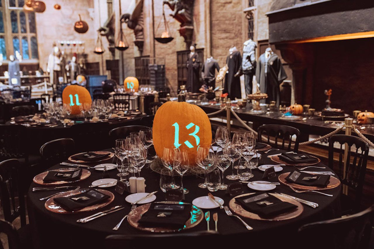 Great Hall in Halloween decor tables