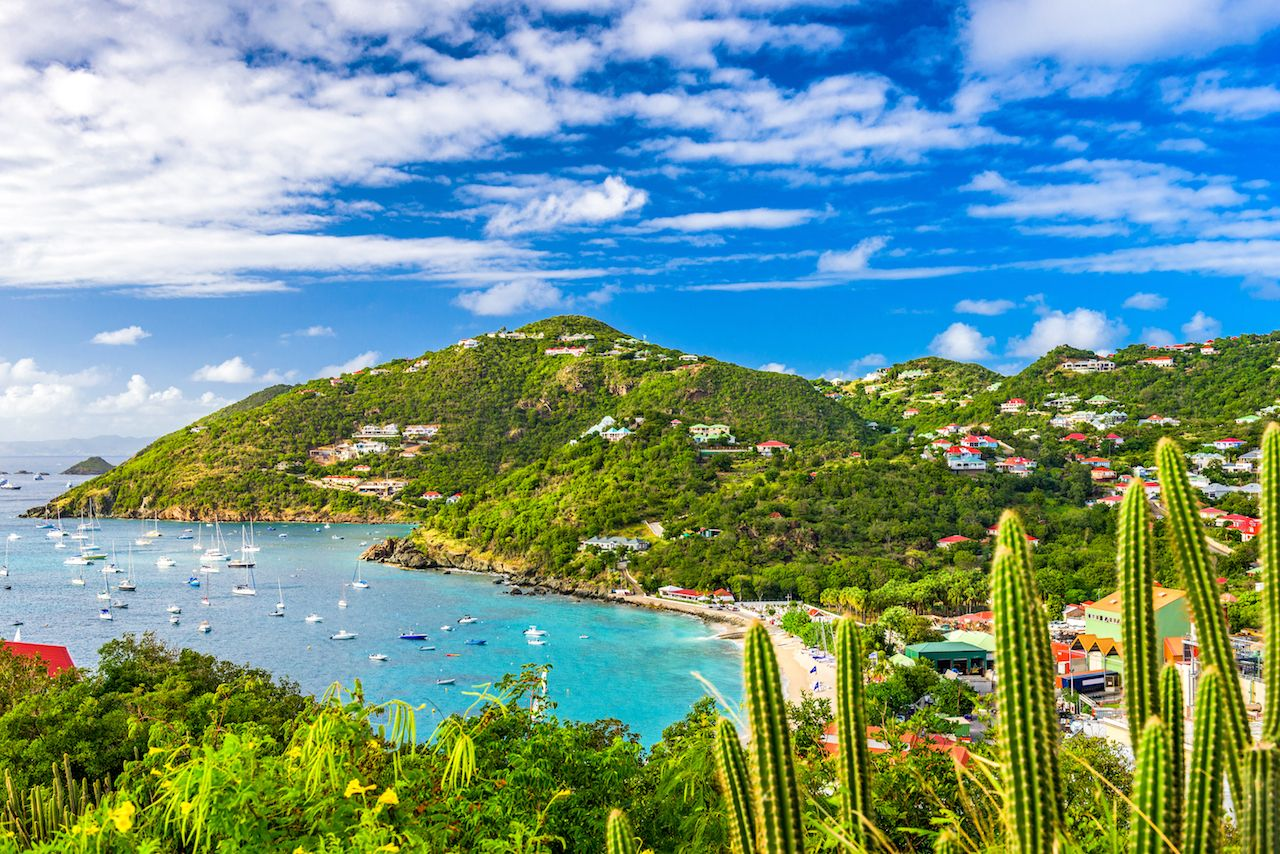 Gustavia, Saint Barthelemy skyline and harbor in the Caribbean