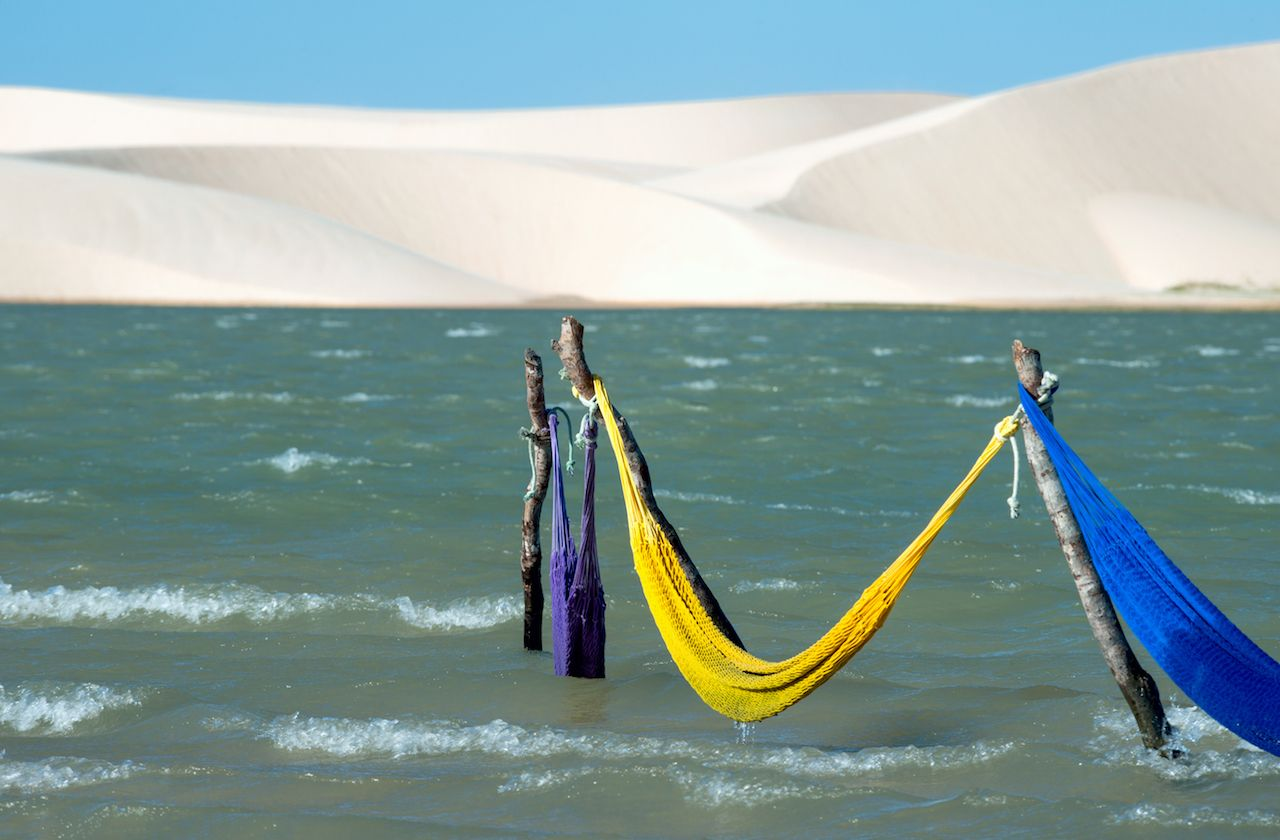 Hammocks in Tatajuba Lake, Brazil