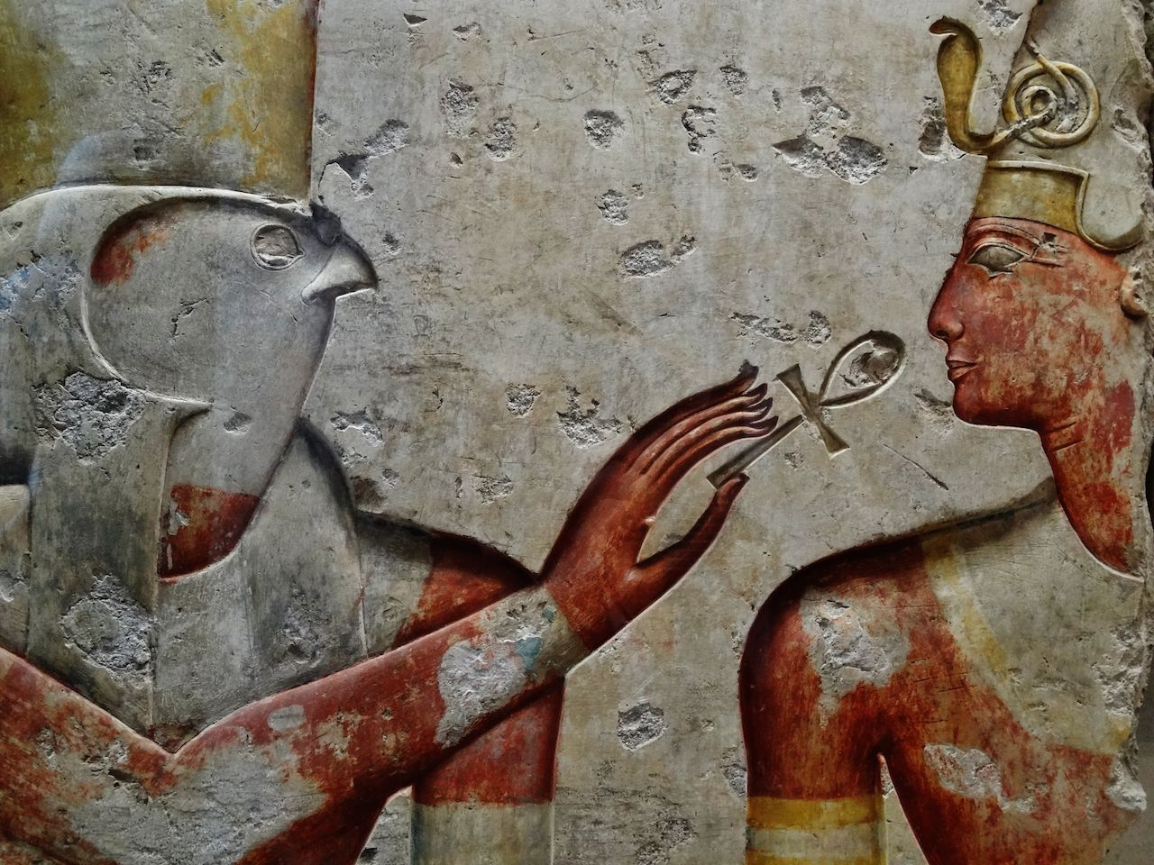 Horus and the Pharaoh. Giving the breath of life