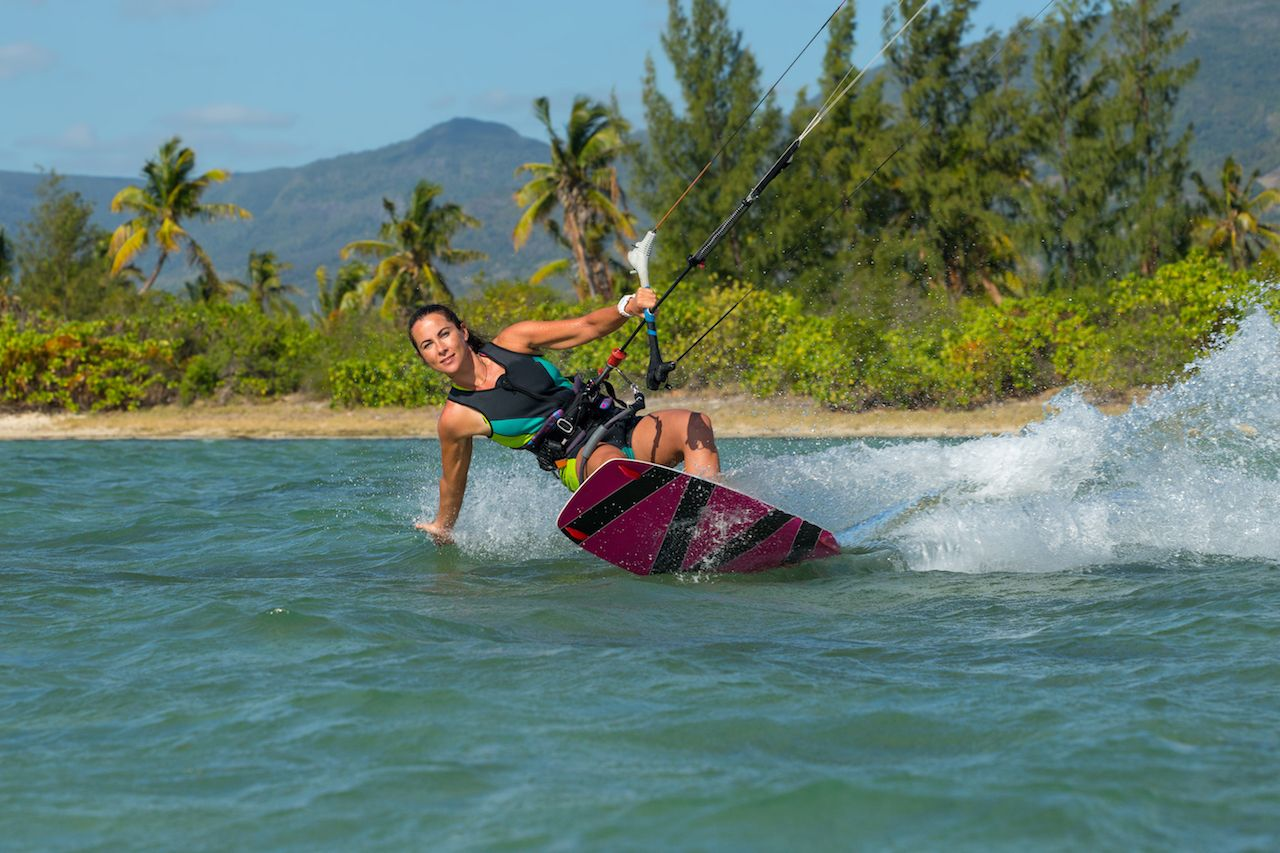 Indian Ocean kiterider in Mauritius