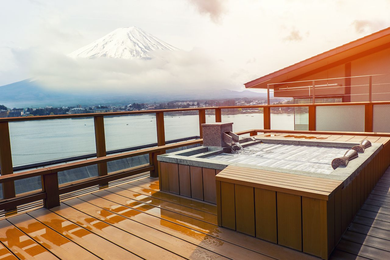 Japanese onsen with Mount Fuji view