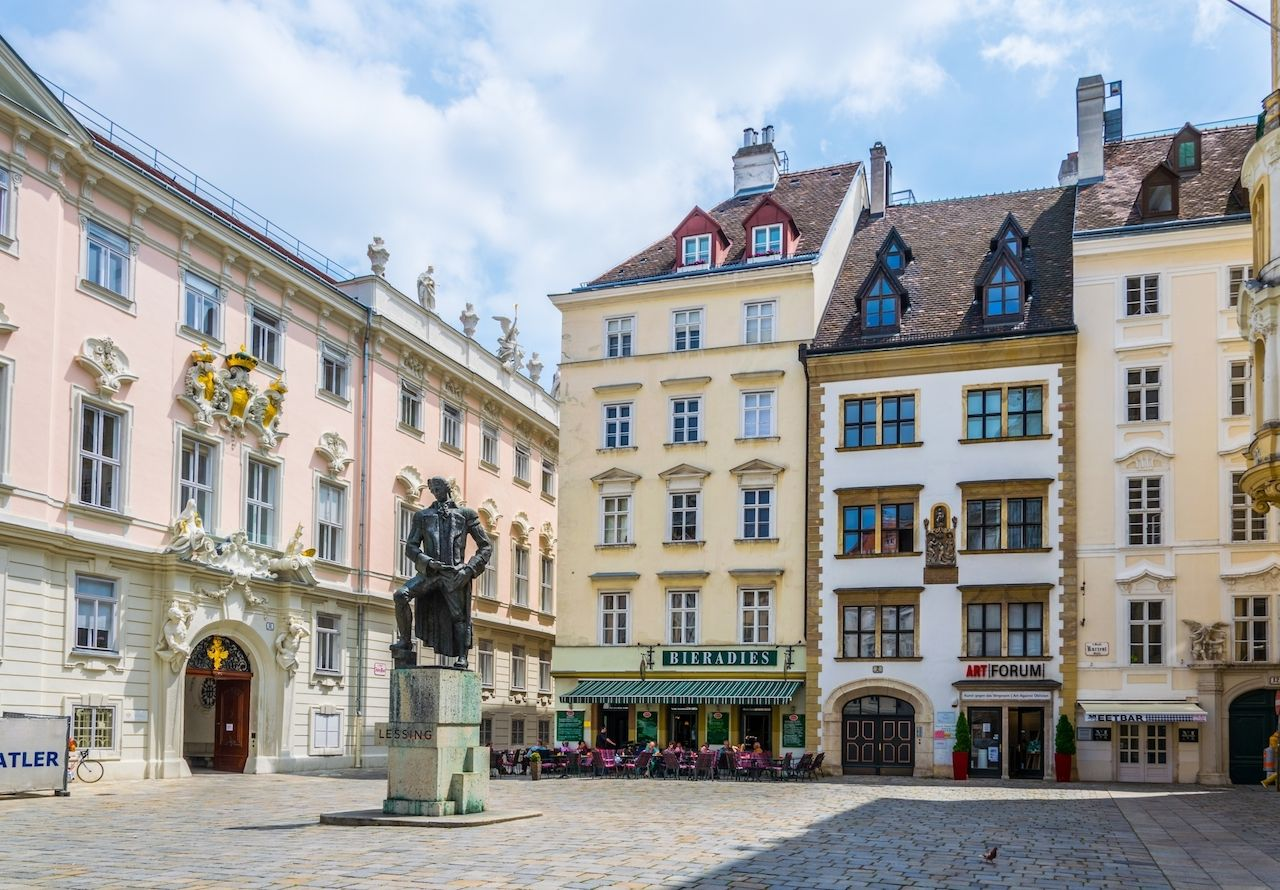 Judenplatz square in the central Vienna, Austria