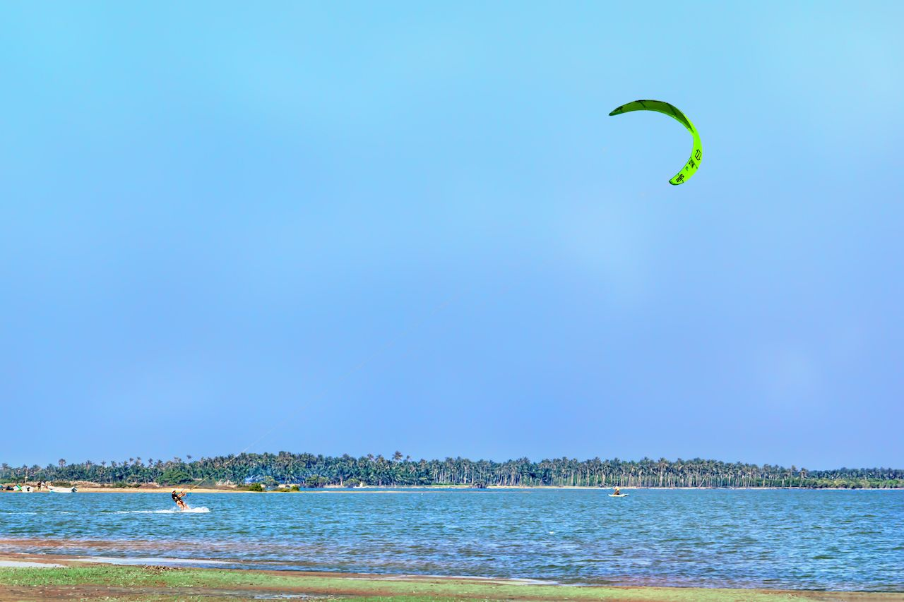 Kiteboarder at Kalpitiya beach, Sri Lanka