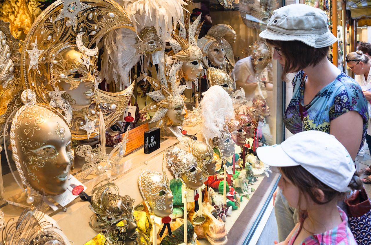 Masks on display in Venice, Italy