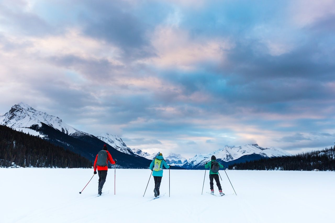 Cross country skiing Jasper Canada winter