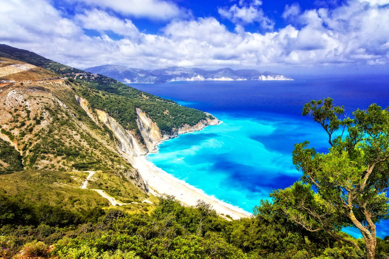 One of the most beautiful beaches of Greece Myrtos bay in Kefalonia island