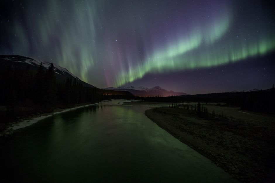 Northern Lights Jasper Canada winter