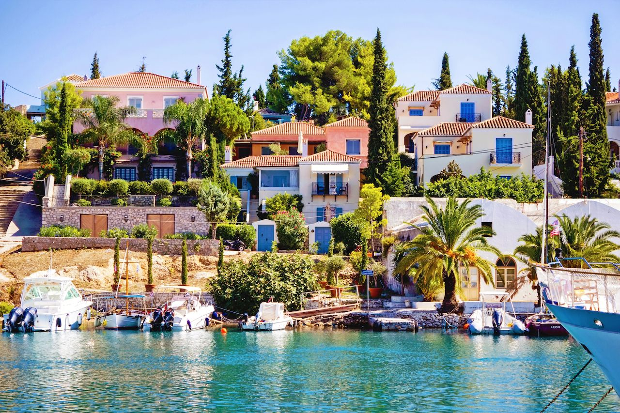 Scenic in the old harbor of Spetses island Greece