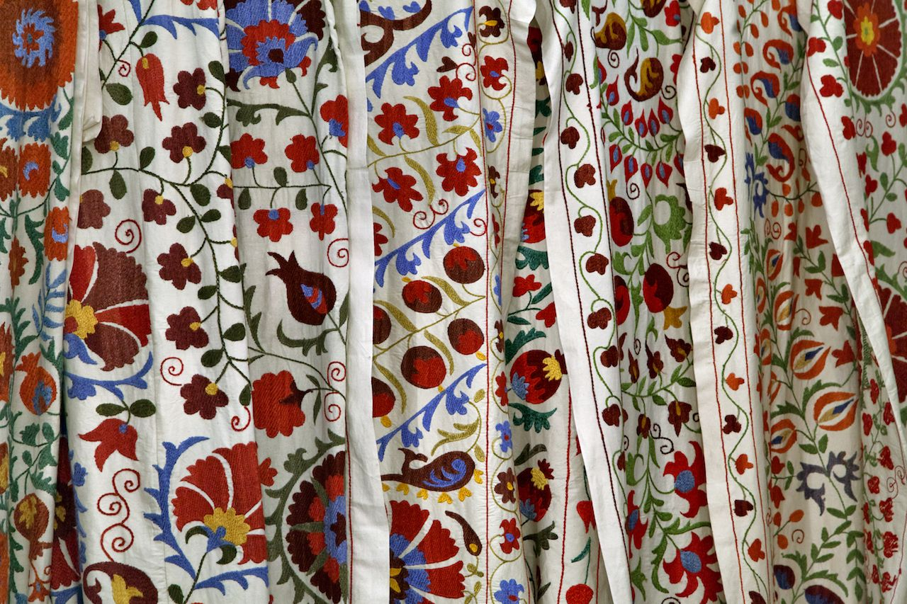 Traditional uzbek suzani embroidery fabrics