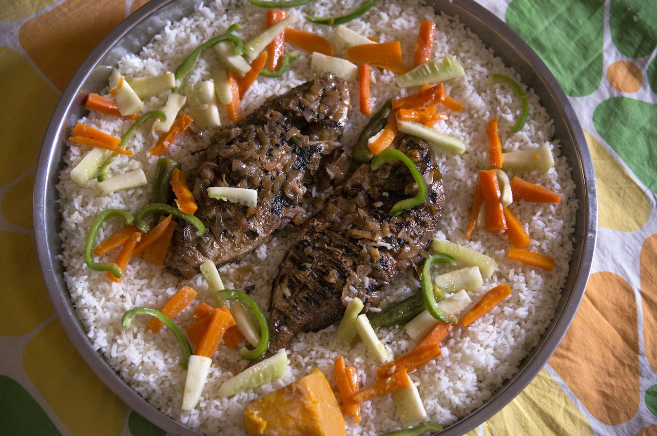 Typical food of Senegal, rice with fish