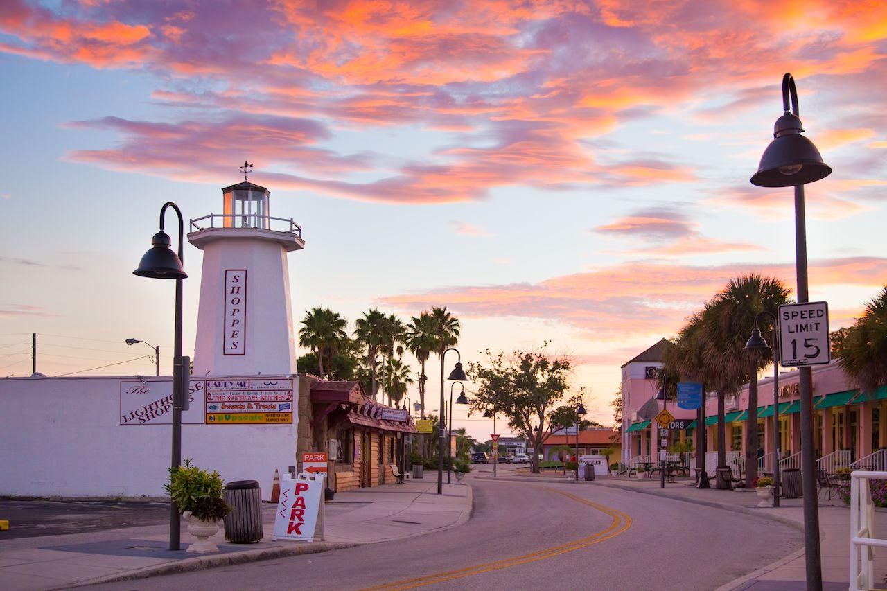 View of Tarpon Springs, Florida at sunset