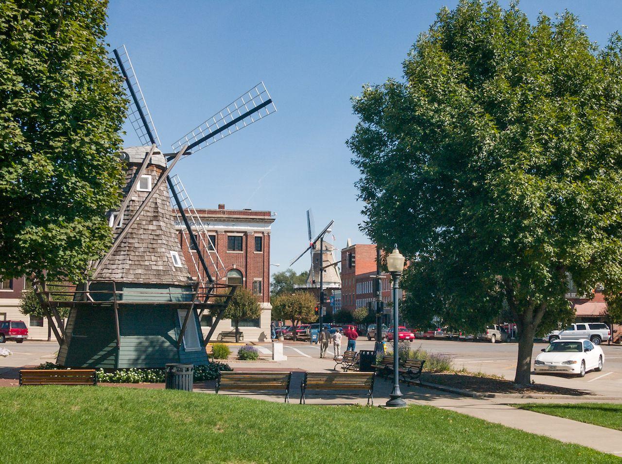 Windmill at Dutch village Pella in Iowa