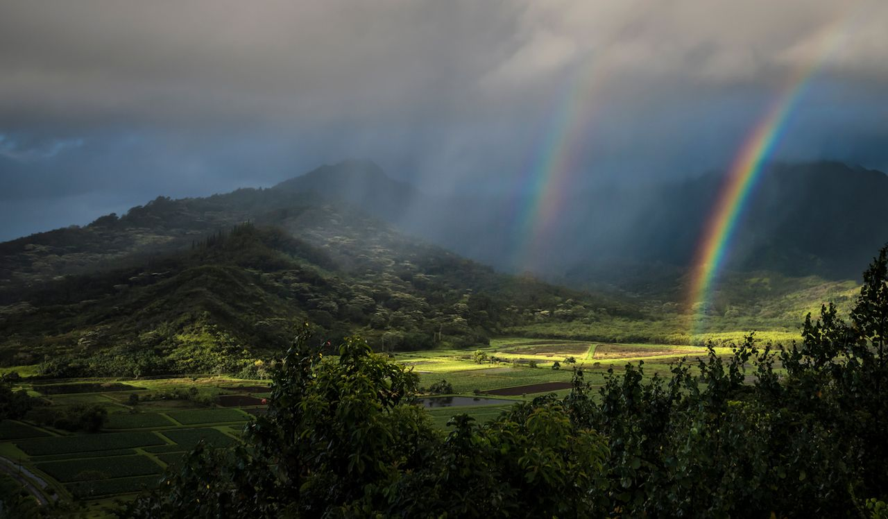 double rainbow on Kauai
