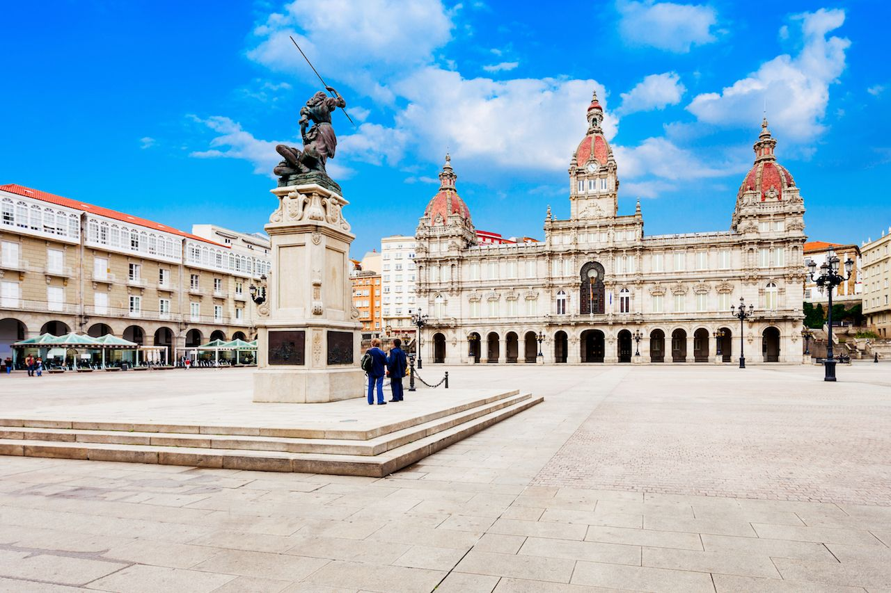 City Hall or Municipal Palace or Concello da Coruna at the Plaza de Maria Pita square in A Coruna in Galicia, Spain