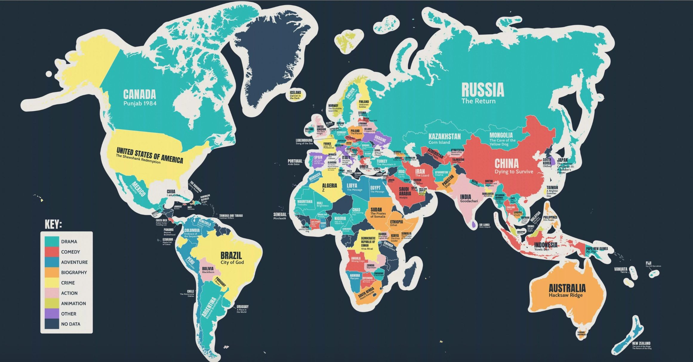Map Of Country Most popular film produced in every country, mapped