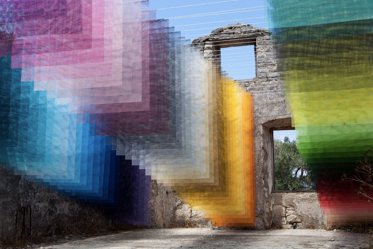 Art installation in Greek ruins