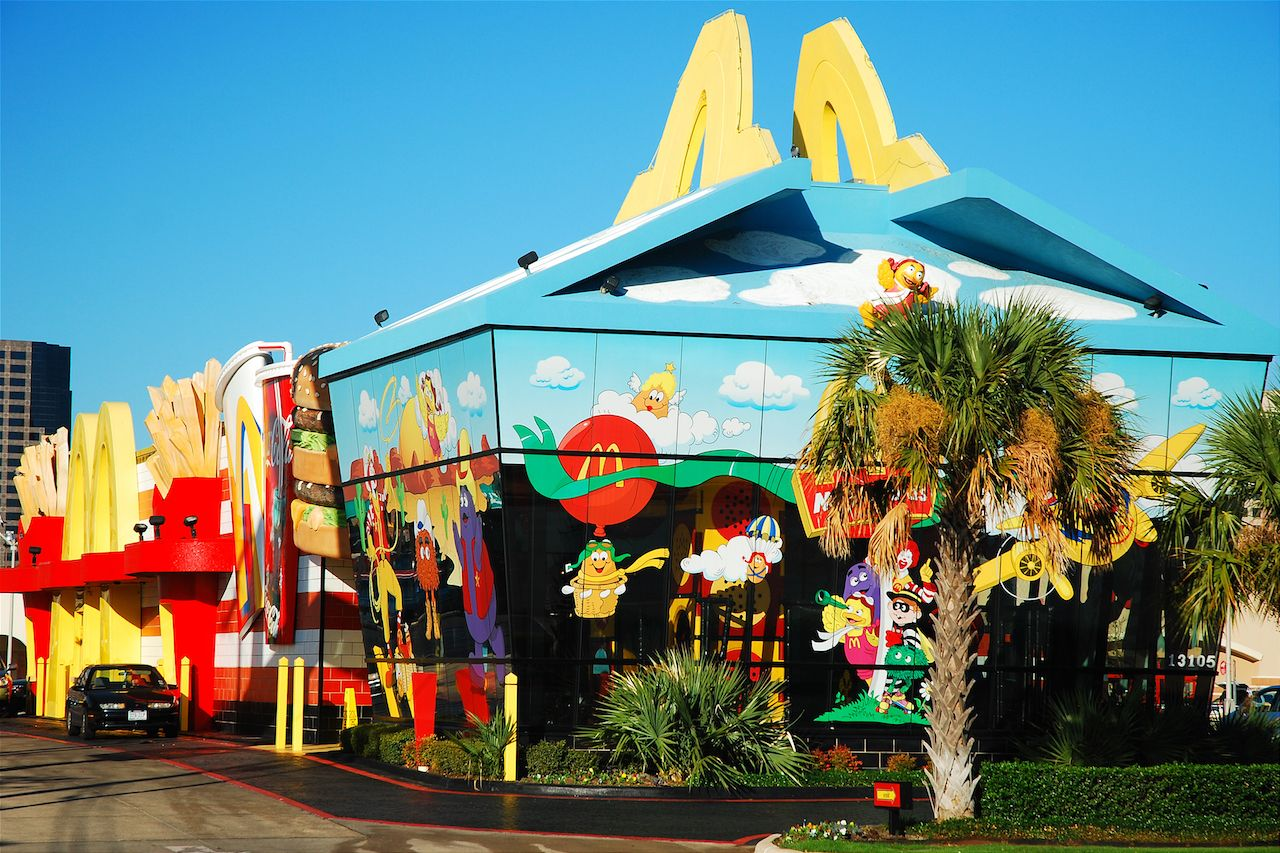A McDonalds in Dallas Texas is designed to resemble the restaurant's Happy Meal container