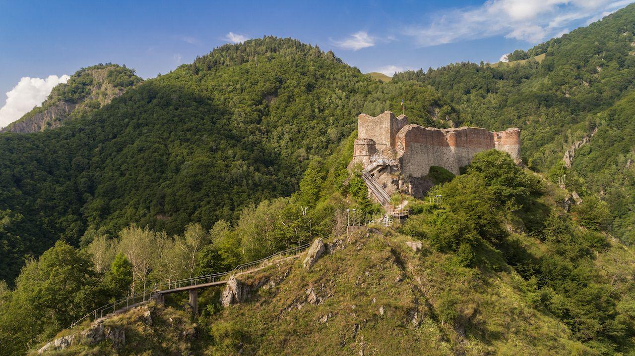 Aerial view from ruined Poenari Castle on Mount Cetatea in Romania