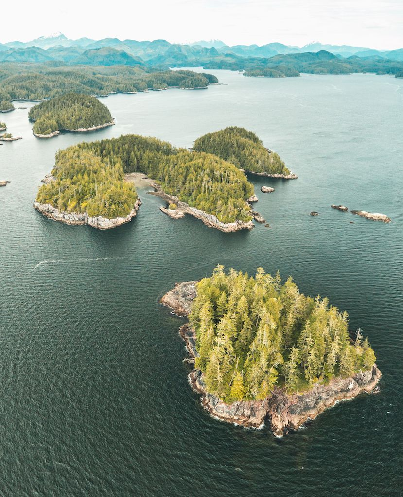 Aerial view of Nimmo Bay in BC, Canada