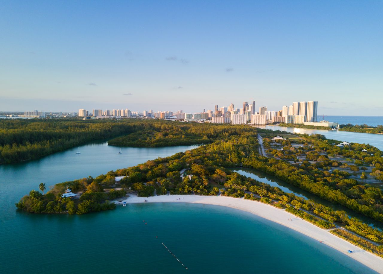 Aerial view of Oleta River State Park near Miami, Florida