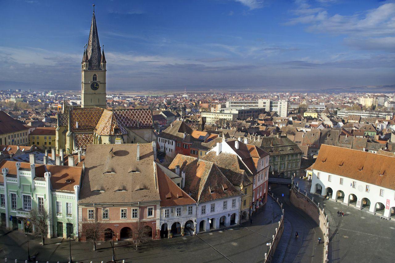 Aerial view of Sibiu old town in Transylvania, Romania