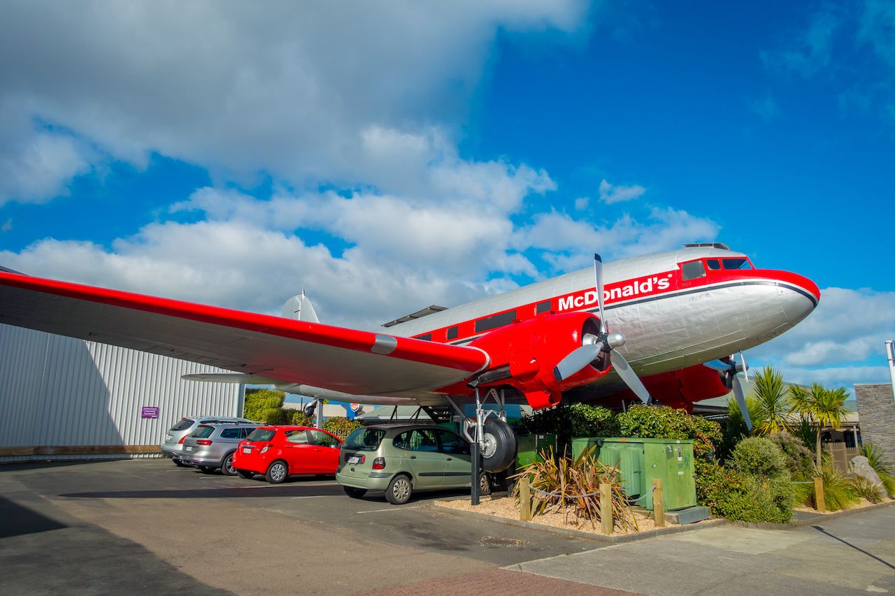 Amazing DC3 plane as part of the McDonald's which is located at Taupo,New Zealand
