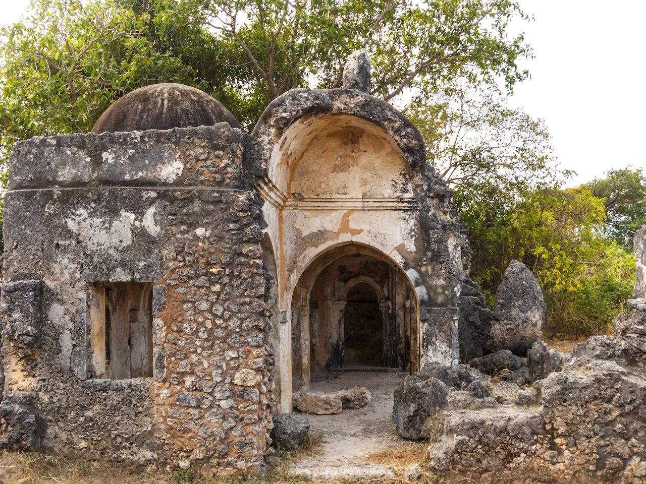 Ancient mosque ruins at Kilwa Kisivani in Tanzania