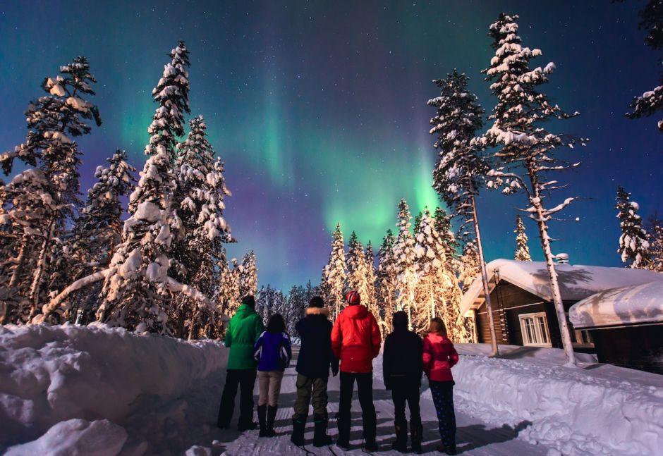Aurora borealis northern lights Lapland Norway
