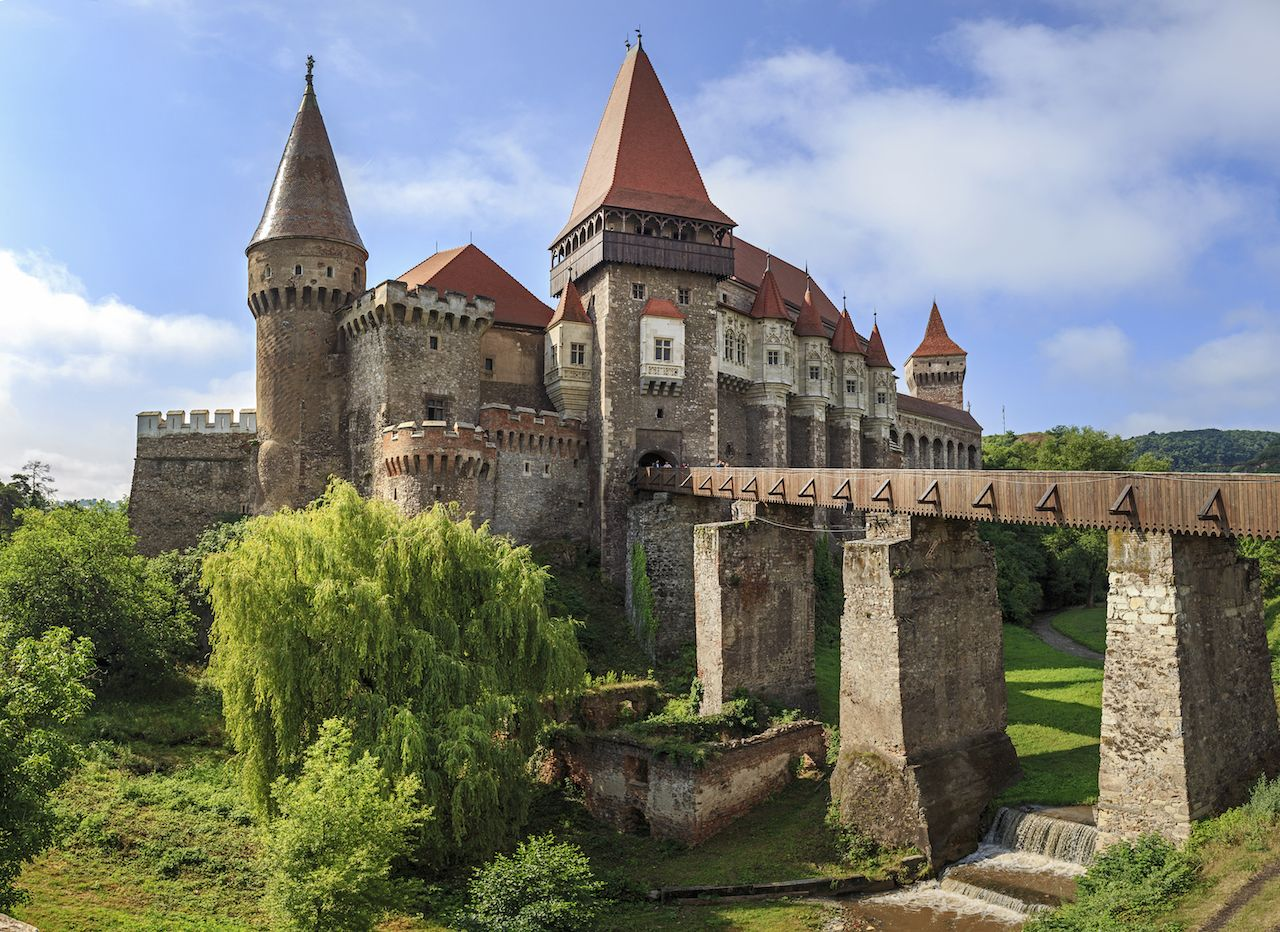 Beautiful panorama of the Corvin Castle in Transylvania, Romania