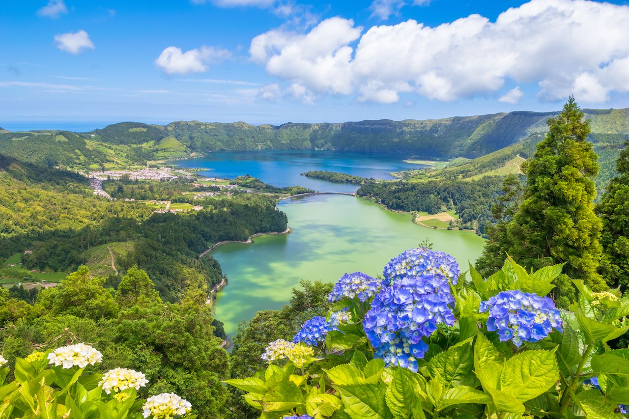 Beautiful view of Seven Cities Lake in São Miguel Island Azores Portugal